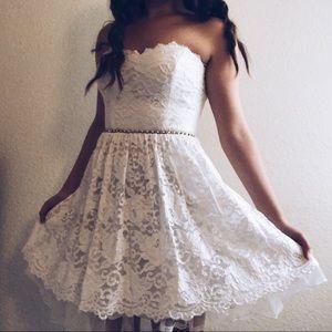 Jodi Kristopher- Short White Lace Dress w/ Beads
